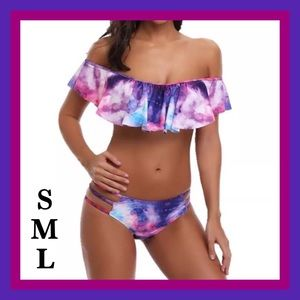 Other - 2 Piece Ruffle Off The Shoulder Swimsuit.